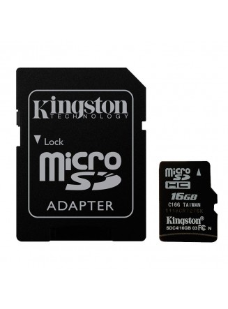 Kingston 16GB Micro SDHC Class 10 UHS-I U1 Full HD Canvas 80MB/s + Adaptador SD - SDCS/16GB