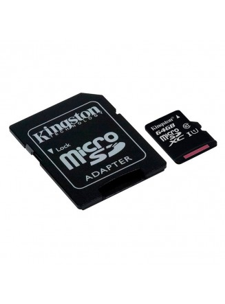 Kingston 64GB Micro SDHC Class 10 UHS-I U1 Full HD Canvas 80MB/s + Adaptador SD - SDCS/64GB