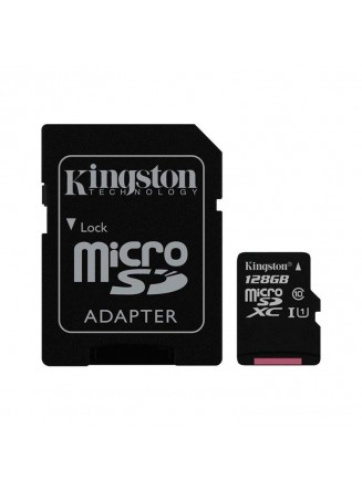 Kingston 128GB Micro SDHC Class 10 UHS-I U1 Full HD Canvas 80MB/s + Adaptador SD - SDCS/128GB