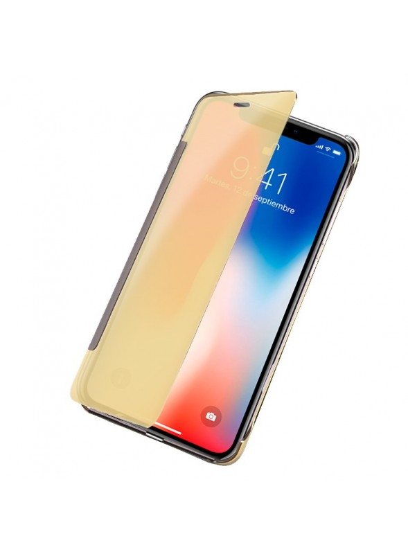 Capa Flip Cover Clear View para Apple iPhone X / iPhone Xs Dourado